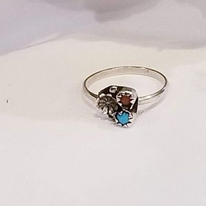 Vintage Dainty Sterling Turquoise and Coral Ring